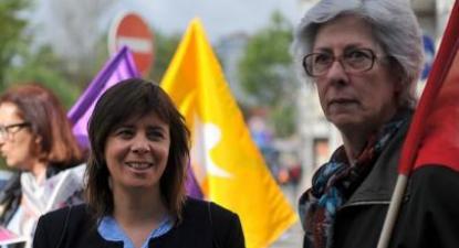 Catarina Martins falou aos jornalistas durante a apresentação, no mercado de Benfica, do Manifesto +60, destinado aos reformados e idosos. Foto de Paulete Matos