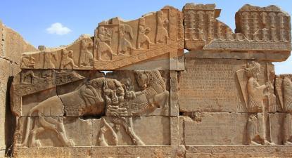 Monumento em Persépolis, no Irão, considerado Património da Humanidade. Junho de 2015.