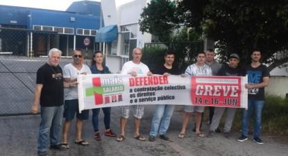 Trabalhadores da Amarsul em greve. Foto do site Fiequimetal- CGTP-IN.