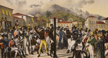 Punições públicas na Praça Santa Ana, Brasil. Gravura de Johann Moritz Rugendas, 1827 a 1835. Coleção Itaú Cultural, São Paulo.