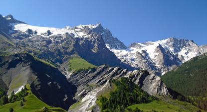 Glaciar de La Meije visto a partir de La Grave, Col du Lautaret, França. Foto de Pretre/Flickr.