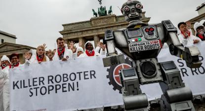 Imagem da campanha para parar os robôs assassinos. Foto de stopkillerrobots.org.
