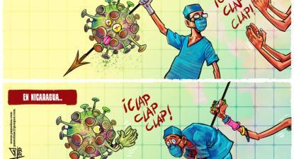 Caricatura nicaraguense sobre a política do Governo face à covid-19: noutros países os profissionais de saúde são aplaudidos, na Nicarágua cravam-lhe a lança nas costas, o braço que espeta a lança simboliza a vice-presidente, Rosario Murillo