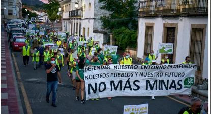 Manifestação contra a mina de Cañaveral. Foto de Plataforma No a la Mina de Cañaveral/Facebook.
