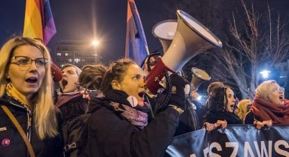 Manifestação pelos direitos das mulheres na Polónia. 8 de março de 2018. Foto de Grzegorz Żukowski/Flickr.