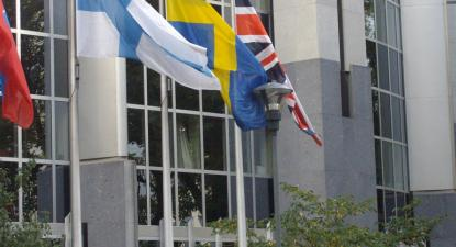 Bandeiras da Finlândia, da Suécia e do Reino Unido – Foto de magnusfranklin/fkr