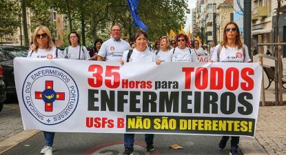 Enfermeiros em luta pela aplicação das 35 horas às USF B.