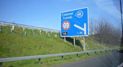 Sinal de aproximação ao túnel do canal da Mancha.