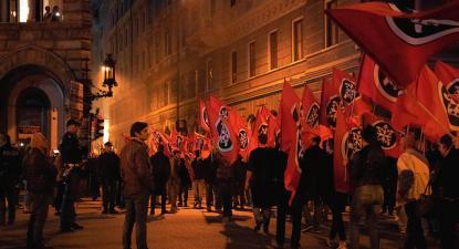 Manifestação do grupo de extrema-direita Casa Pound em Trieste. Novembro de 2018.