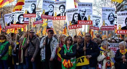 Manifestação pela libertação dos presos políticos catalães