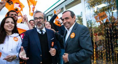 Paulo Rangel e Álvaro Amaro em campanha.