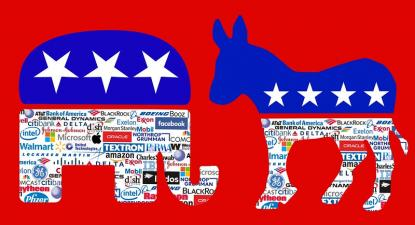 Os dois principais partidos dos EUA estão dependentes do dinheiro dos grandes capitalistas do seu país. Ilustração de  Butter My Parsnips/Flickr.
