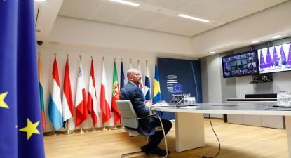 Reunião do Conselho Europeu por videoconferência. Foto: European Union