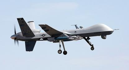 Drone de combate militar dos Estados Unidos numa missão de treino, U.S. Air Force – Foto de Paul Ridgeway / wikipedia