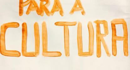 """""""Orçamento para a Cultura - Subelo"""", pancarta da manifestação de 6 de abril."""