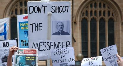 Manifestação de apoio a Assange. Sidney, 2010.