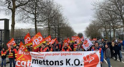 Manifestantes contra a reforma das pensões de Macron. Janeiro de 2020.