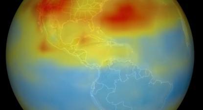 Mapa de concentração de CO2 na troposfera, captado pelo detetor AIRS da sonda Aqua da NASA, julho de 2003. Imagem: AIRS/Flickr.