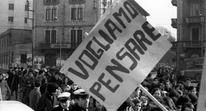 Manifestação de estudantes universitários, Itália, 1968