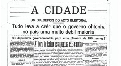 Página do Diário de Lisboa (parte) de 11 de julho de 1921 com resultados eleitorais (obtido em casacomum.org - Fundação Mário Soares)