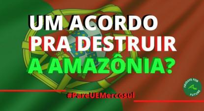"""""""Um acordo para destruir a Amazónia?"""" - imagem de Fridays for Future"""