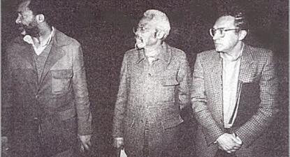 Adolfo Maria com Mário Pinto de Andrade e Gentil Viana. Os três formaram em Lisboa um Grupo de Reflexão (em meados dos anos 80) para a procura de vias para o  fim da guerra civil em Angola.
