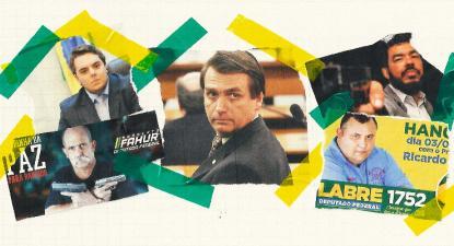 No alto, à esquerda: Felipe Francischini, do PSL, eleito deputado federal pelo Paraná. Abaixo dele, também deputado federal pelo Paraná, Sargento Fahur, do PSD. No centro, o candidato à presidência, Jair Bolsonaro. No alto, à direita, o deputado federal pelo Mato Grosso do Sul, Tio Trutis e, logo abaixo, o deputado federal pelo Rio de Janeiro, Márcio Labre, ambos do PSL