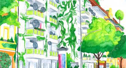Ilustração de Hélène Baum. Ilustrando o futuro que queremos. Projeto da Rede de cidades C40.