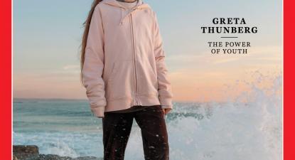 Greta Thunberg foi fotografada na Praia da Cruz Quebrada para a capa da Time.
