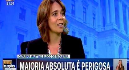 """Catarina Martins na entrevista à CMTV afirmou que """"maioria absoluta é perigosa"""""""