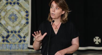 Catarina Martins fala à comunicação social, após a reunião com o Presidente da República – Foto de Miguel A. Lopes/Lusa
