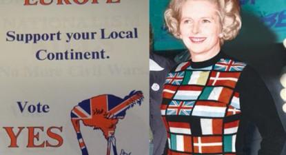 Margaret Thatcher em campanha para o referendo de 1975.
