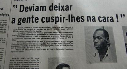 Artigos como este do Jornal de Angola incitavam à violência, à delação e ao ódio