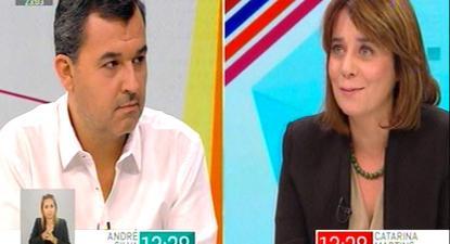 Debate entre André SIlva e Catarina Martins na SIC Notícias, moderado por Clara de Sousa