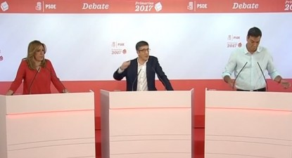 Susana Díaz, Patxi López e Pedro Sánchez no debate das primárias do PSOE.