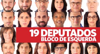 Grupo parlamentar do Bloco de Esquerda, fotos dos 19 deputados e deputadas