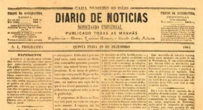 Capa do primeiro número do DN, 29 de dezembro de 1864 - Foto de wikipedia.pt