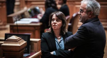 José Manuel Pureza e Catarina Martins durante a discussão parlamentar sobre eutanásia- Fevereiro de 2020.