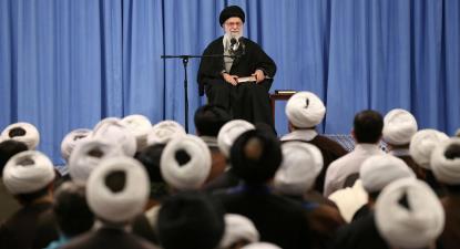 Khamenei, Líder Supremo da Revolução no Irão, toma posição sobre os resultados eleitorais. Fevereiro de 2020.