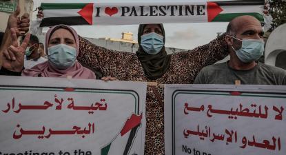 Palestinianos protestam contra a assinatura do Acordo de Abraão.