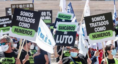 Manifestação nacional de bancários. Julho de 2021. Foto de ANTÓNIO COTRIM/LUSA.