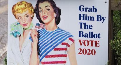 Pormenor de um cartaz contra Trump. Foto de Thomas Cizauskas/Flickr.