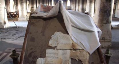 Catedral da Imaculada Conceição, em Qaraqosh, Novembro de 2016, já depois da expulsão da organização Estado Islâmico. Foto de José Manuel Rosendo publicada no seu blogue.