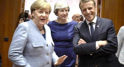 Angela Merkel, Theresa May e Emmanuel Macron.