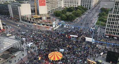 Protesto climático na Potsdamer Platz, em Berlim. Outubro de 2019.