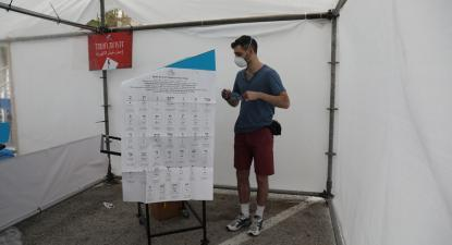 Eleições em Israel, mesa de voto em Jerusalem, 23 de março de 2021 – Foto de Abir Sultan/Epa/Lusa