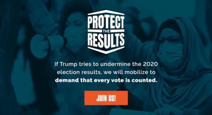 Logotipo do movimento que procura proteger os resultados das eleições presidenciais norte-americanas. Outubro de 2020.