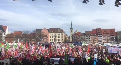 Manifestação contra a extrema-direita em Erfurt. Fevereiro de 2020.