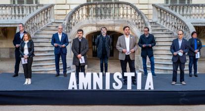 """Presos do """"procés"""" numa iniciativa a favor da amnistia, realizada durante o regime aberto."""