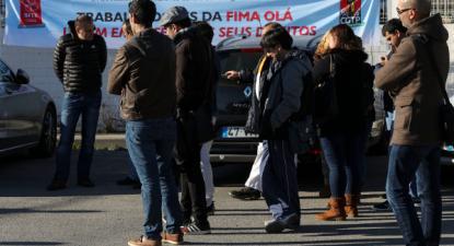 Concentração de trabalhadores da Fima-Olá, face à intransigência da administração da empresa em não permitir a realização de plenários, 7 de janeiro de 2018 – Foto de Miguel A. Lopes/Lusa